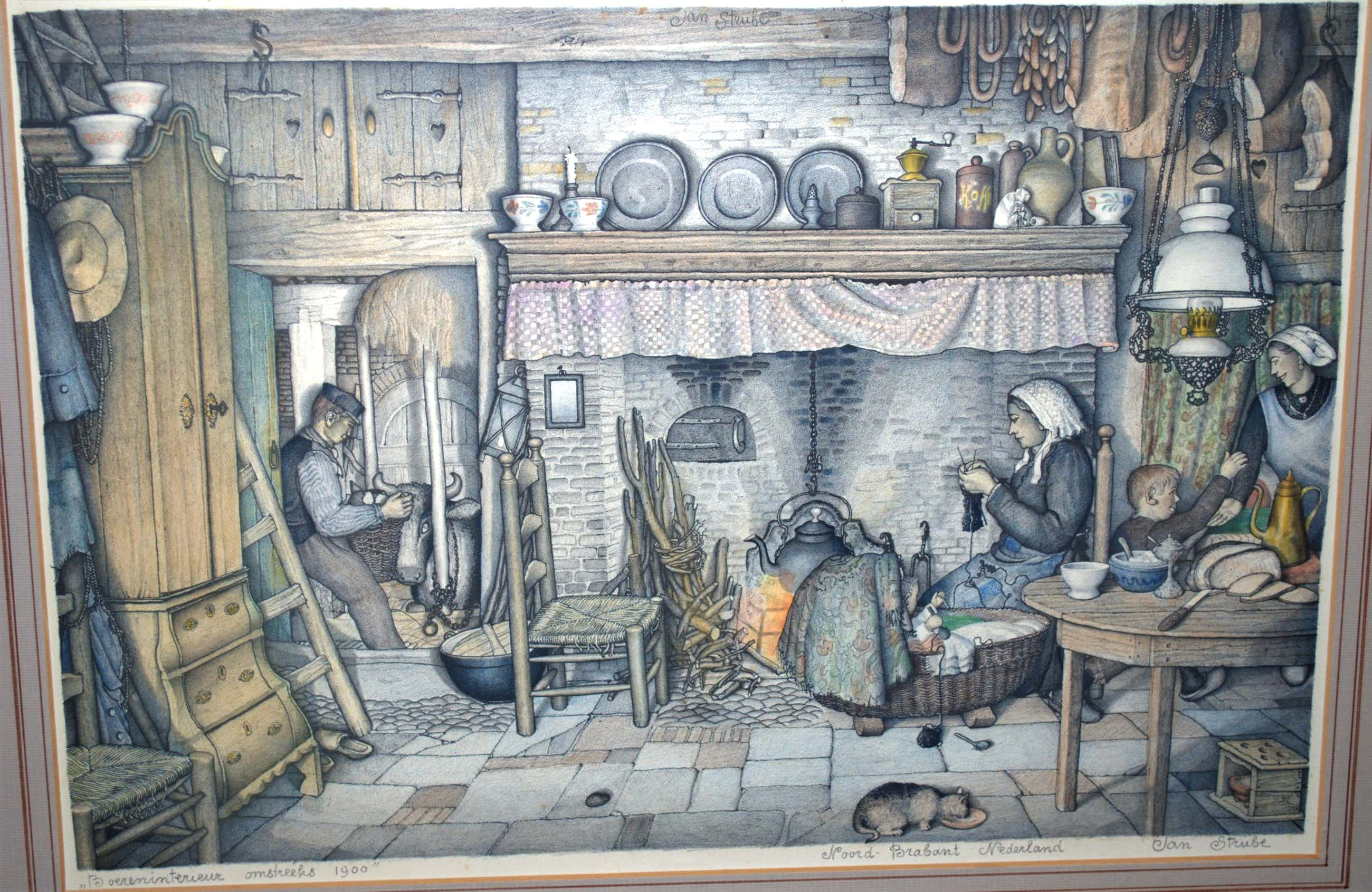Jan Strube - kleurenlitho_boereninterieur NoordBrabant omstreeks 1900_ kopen? Bied vanaf 55!