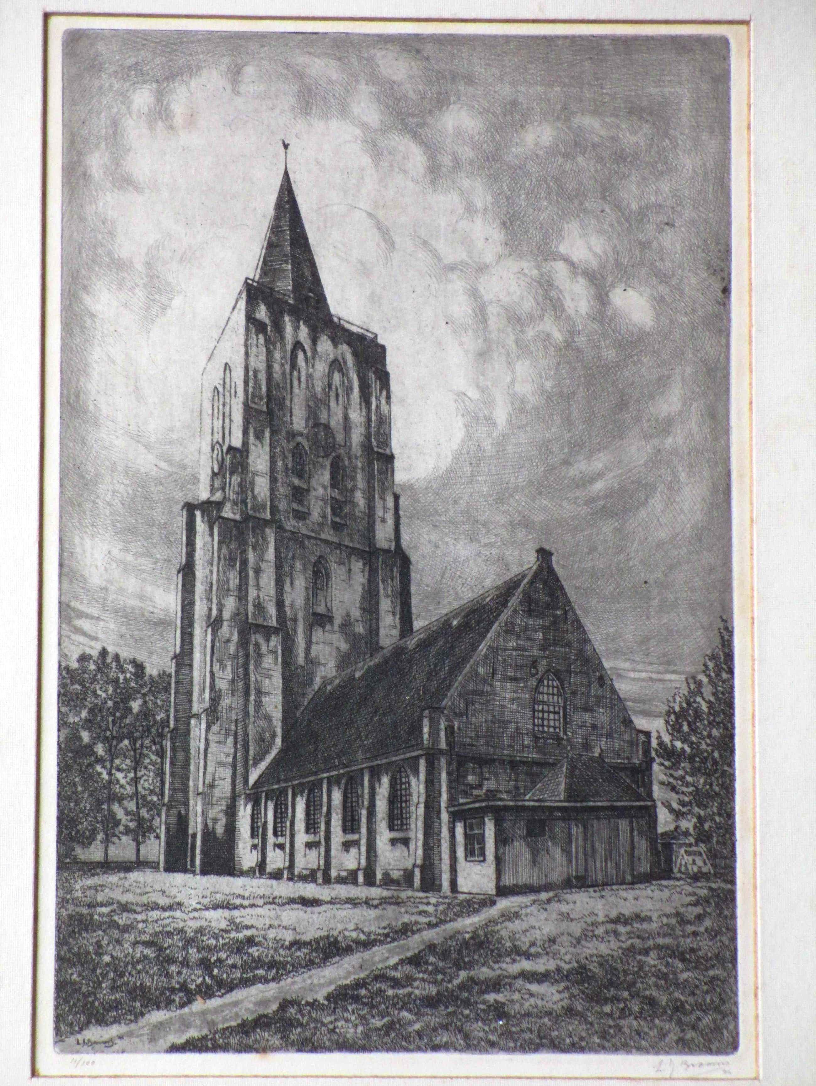 Laurens Jannis Braams - Kerktoren van Oostkapelle - Ets kopen? Bied vanaf 50!