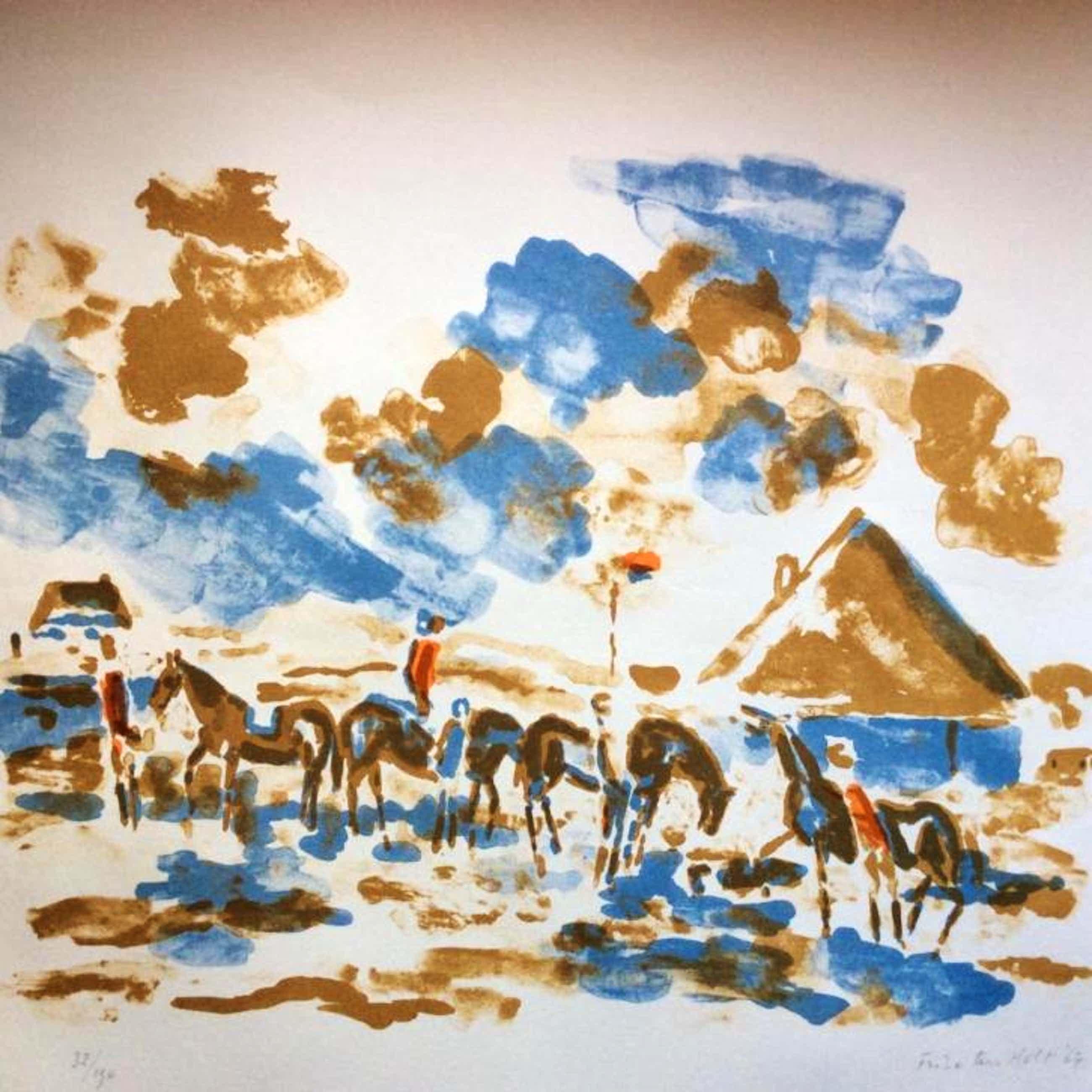 """Friso ten Holt - """"ruiters in Noord-Hollands landschap"""" kopen? Bied vanaf 40!"""
