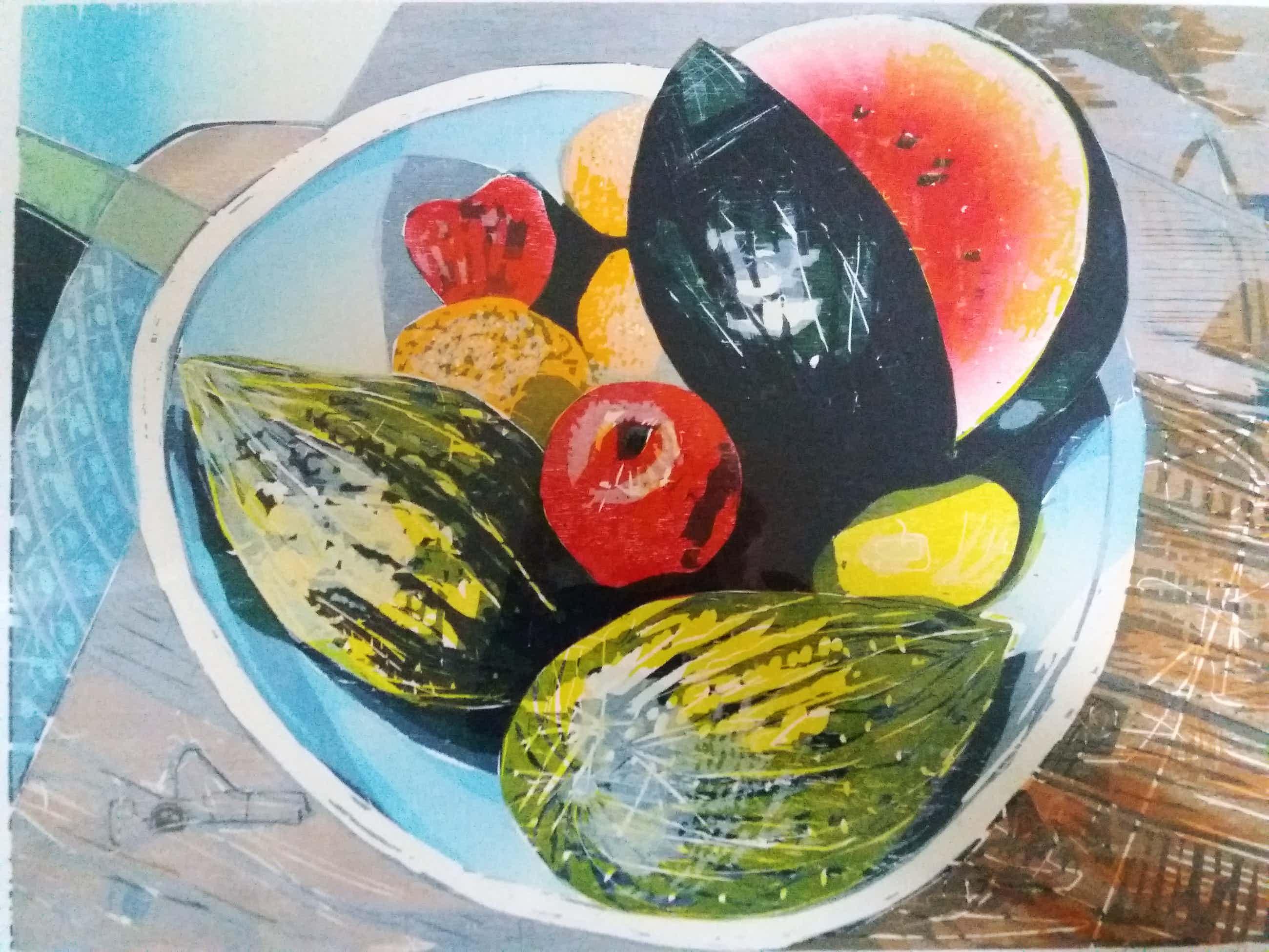 Vincent van Ojen - Stilleven met meloen - groot werk - ingelijst kopen? Bied vanaf 100!