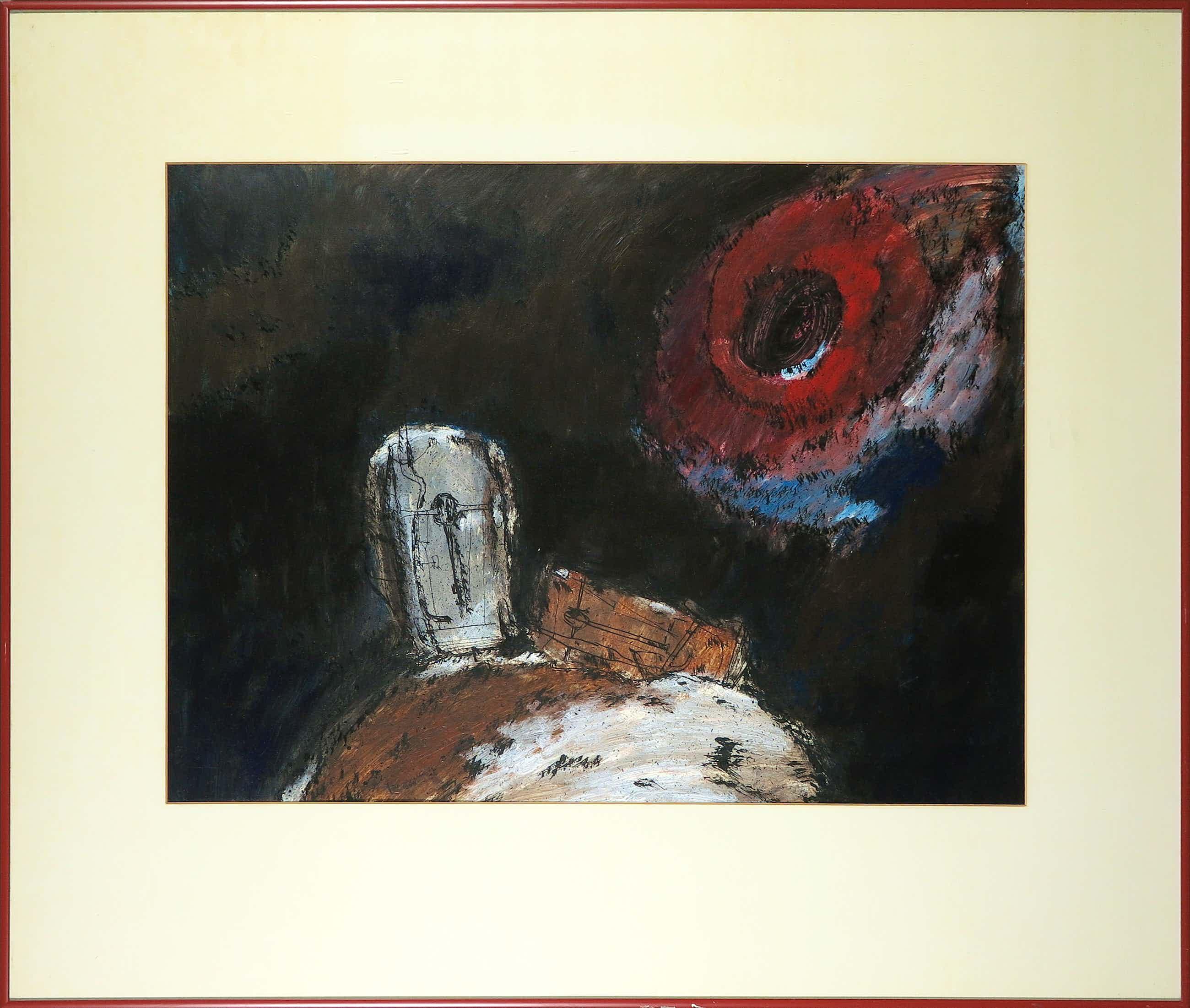 Theo van der Horst - Gemengde techniek op papier, Abstracte compositie - Ingelijst kopen? Bied vanaf 50!