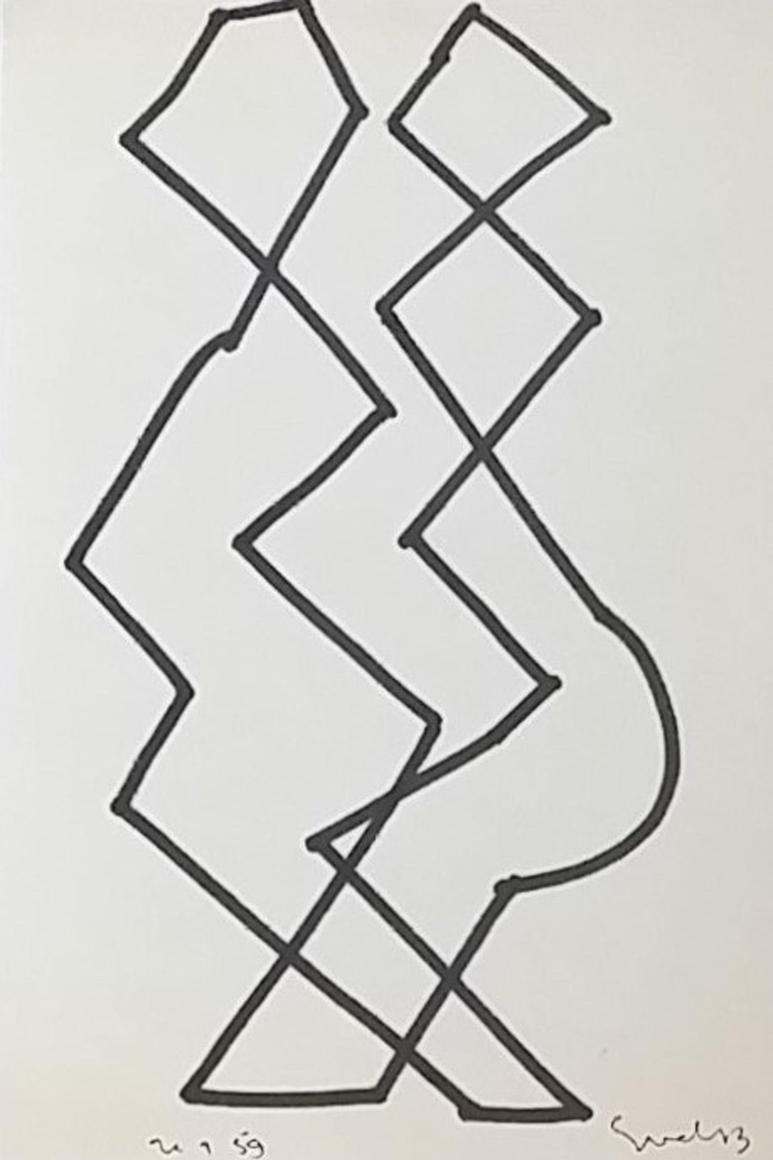 Siep van den Berg - Twee abstracte figuren - man en vrouw kopen? Bied vanaf 100!