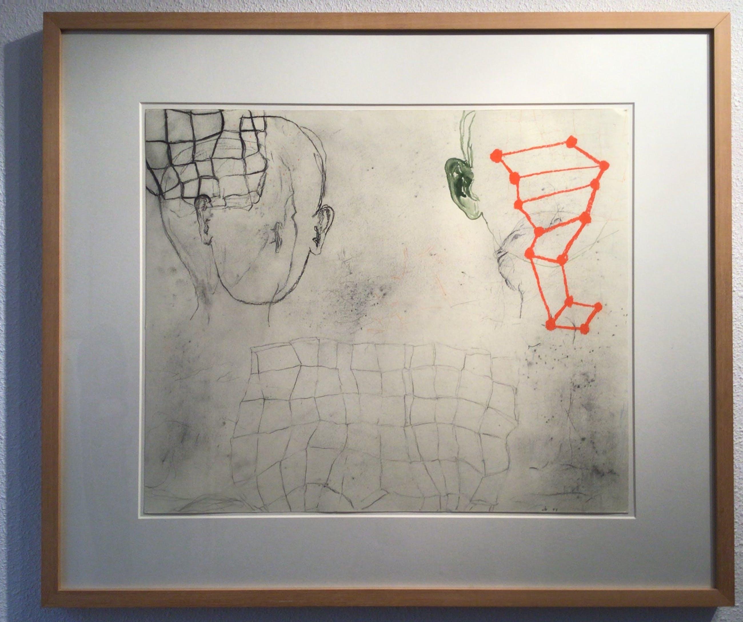 Arno Kramer - ZT - Originele tekening - potlood, krijt, aquarel - Ingelijst kopen? Bied vanaf 450!