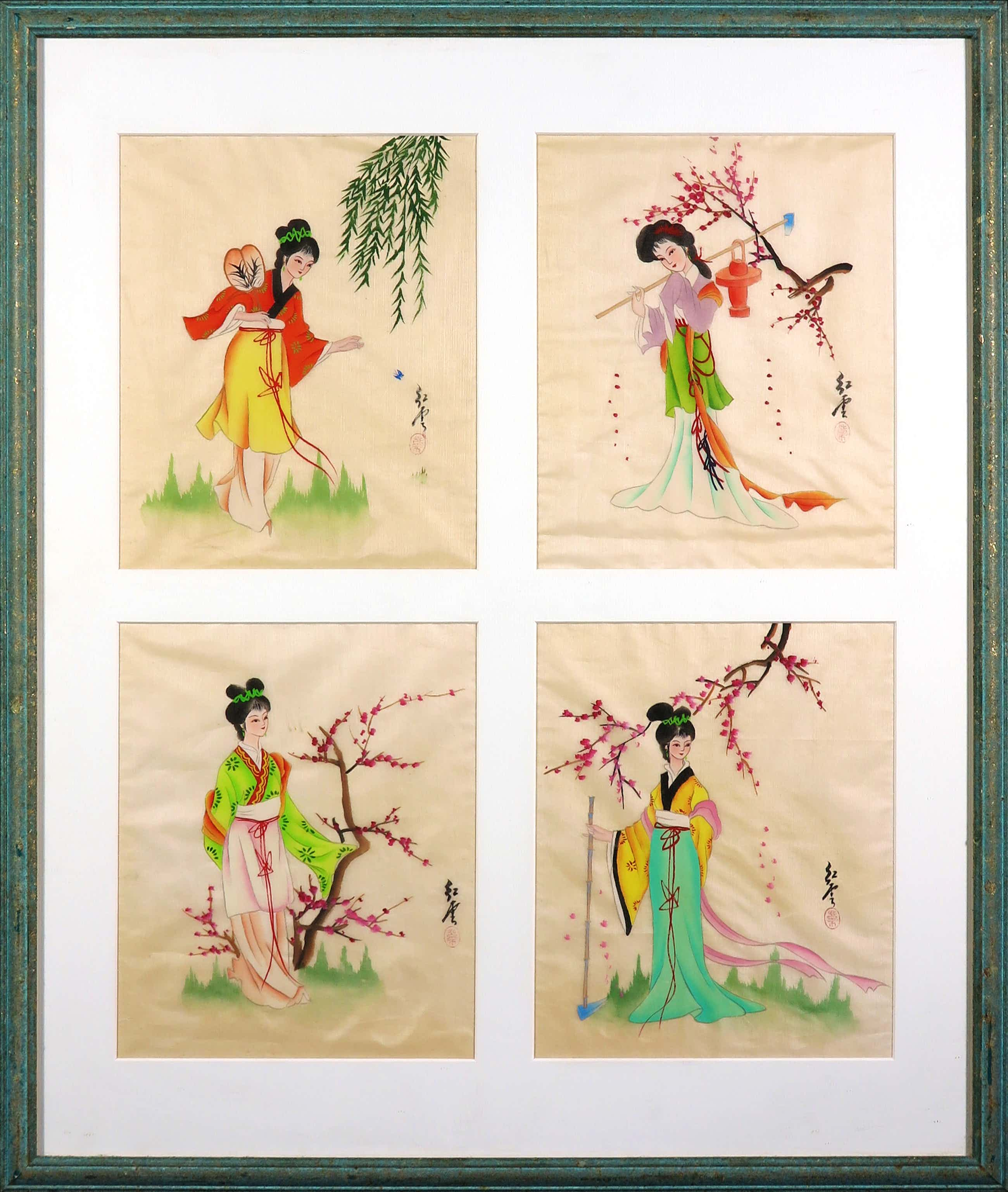 Niet of onleesbaar gesigneerd - Vier Chinese aquarellen op zijde - Ingelijst kopen? Bied vanaf 68!