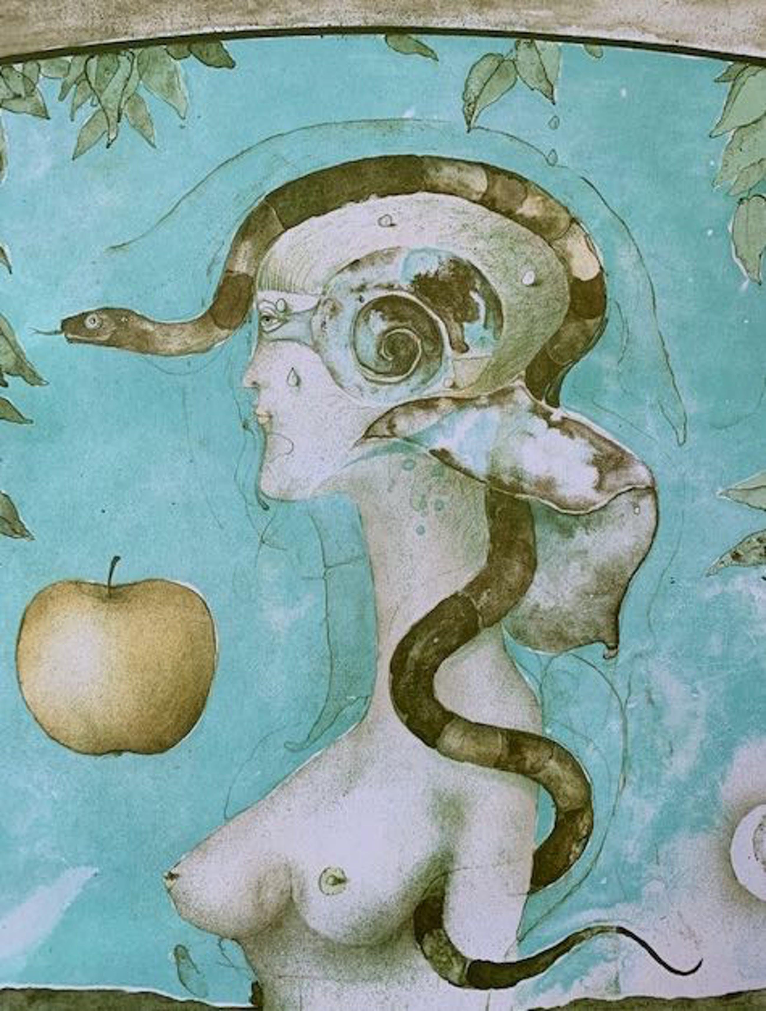 Vladimir Suchanek - Naakte vrouw met slang en appel. kopen? Bied vanaf 15!