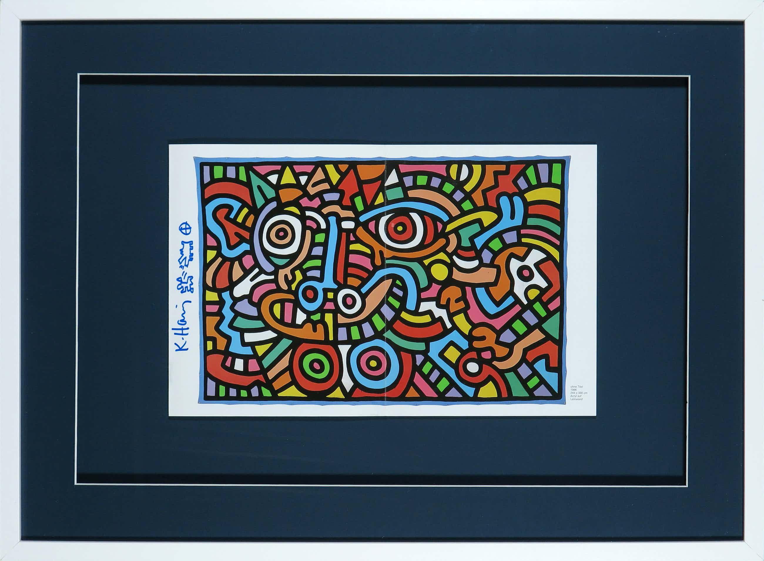 Keith Haring - Signatuur en tekening op uitnodiging Galerie Hans Mayer - Ingelijst kopen? Bied vanaf 910!