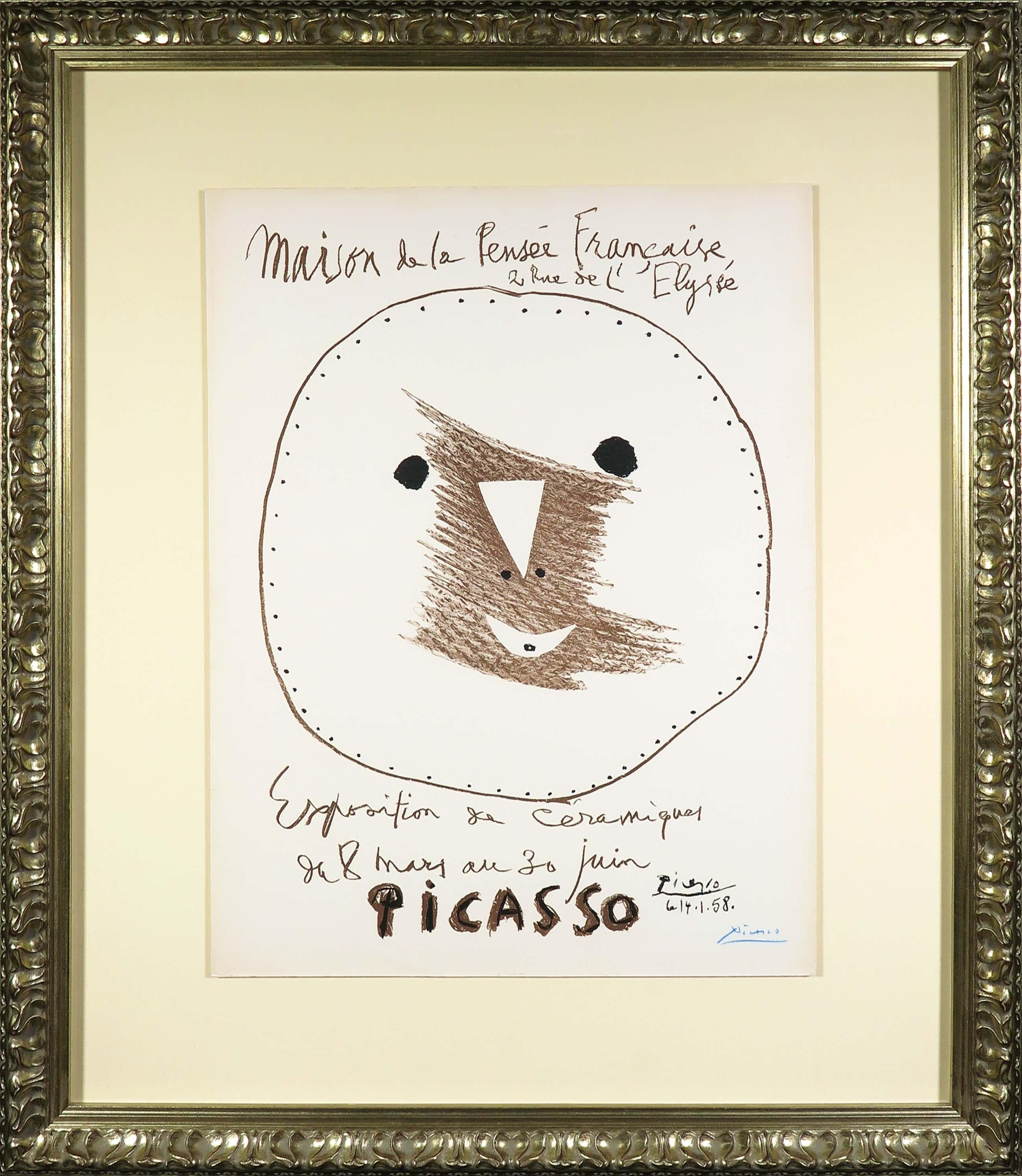 Pablo Picasso - Gesigneerde twee-kleuren litho voor het Maison de la Pensée Française - Ingelijst kopen? Bied vanaf 1400!