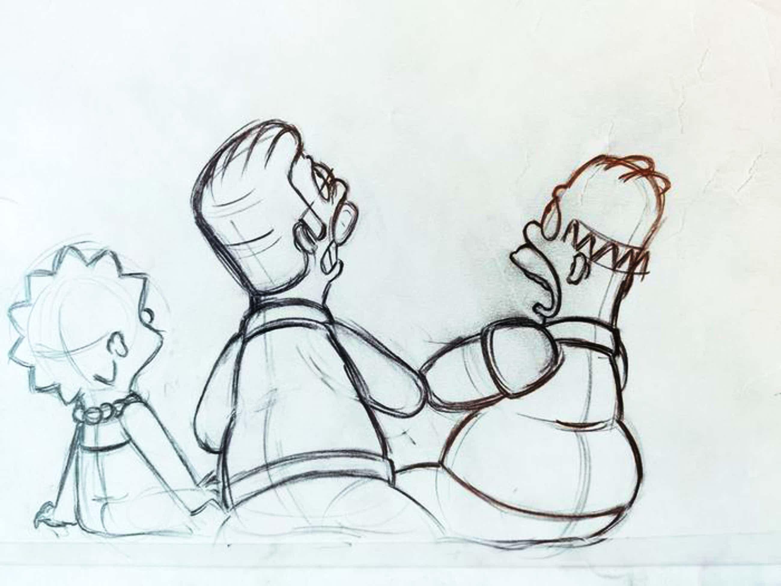 Matt Groening - originele productie tekening, The Simpsons, Homer, Ned en Lisa kopen? Bied vanaf 70!