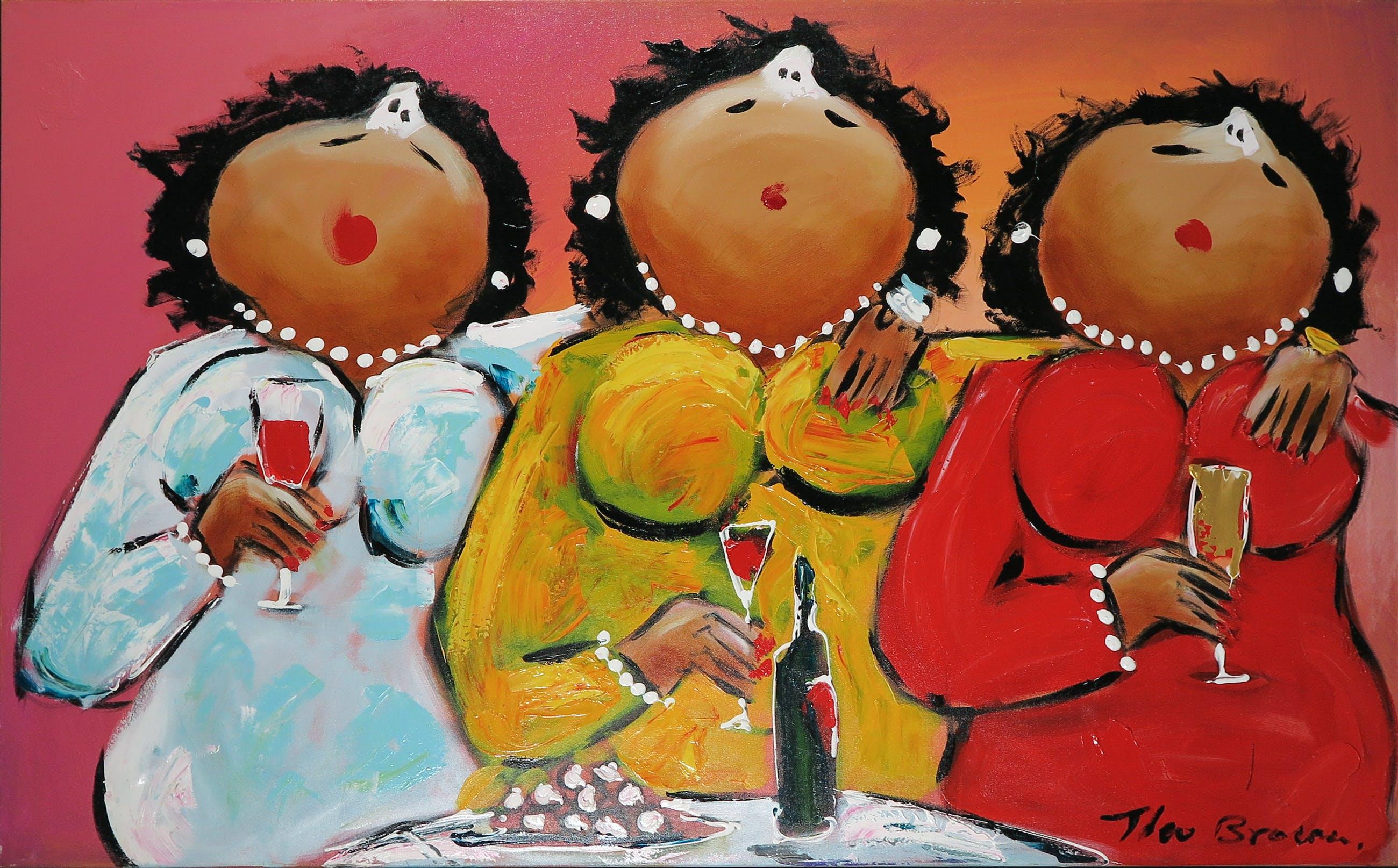 Theo Broeren - Acryl op doek, Lovely sisters (Zeer groot) kopen? Bied vanaf 100!
