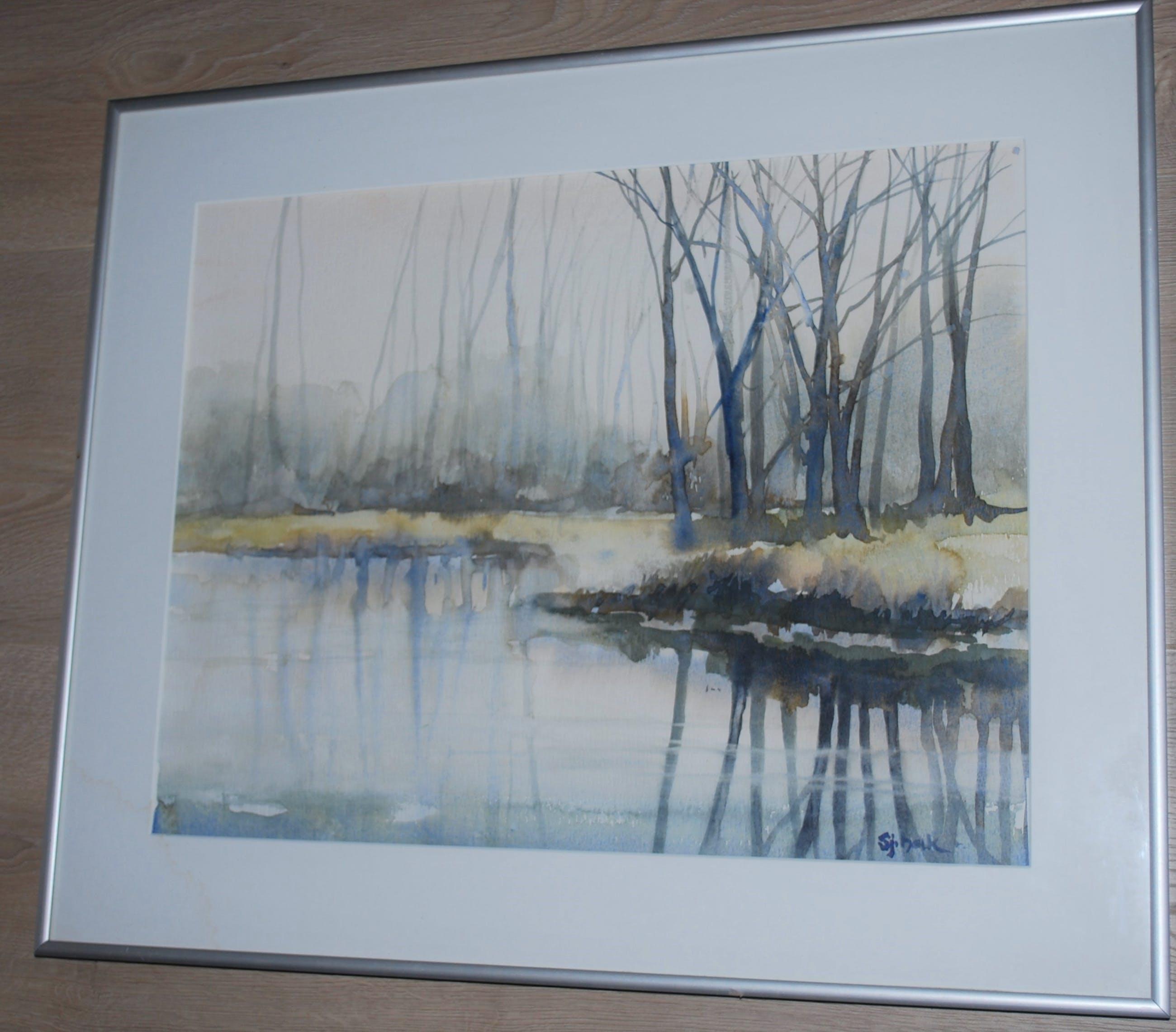 Sjoerdtje Mulder-Hak - Bosven met bomen - ingelijste aquarel kopen? Bied vanaf 75!
