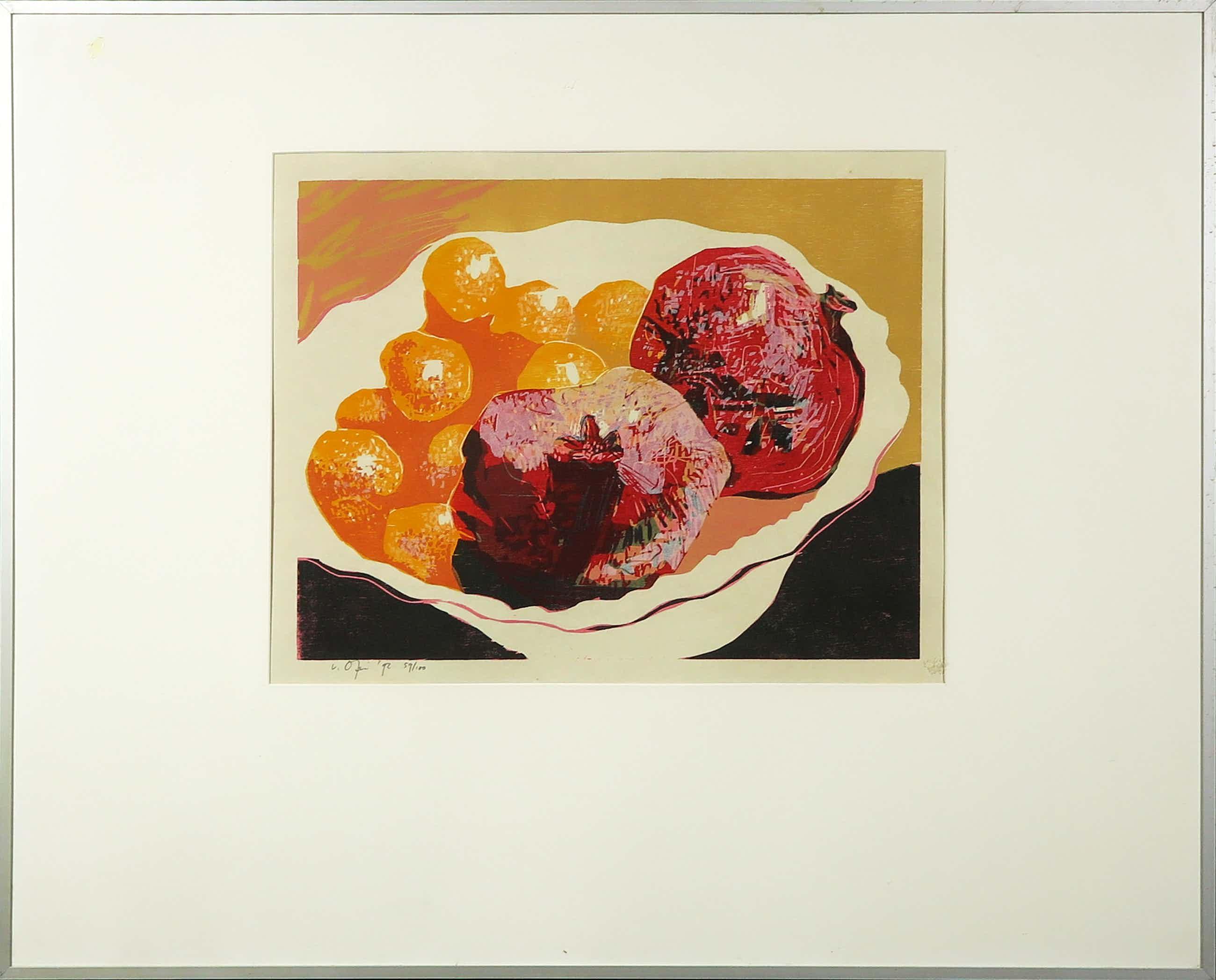 Vincent van Ojen - Houtsnede, Stilleven met fruit - Ingelijst (Groot) kopen? Bied vanaf 60!