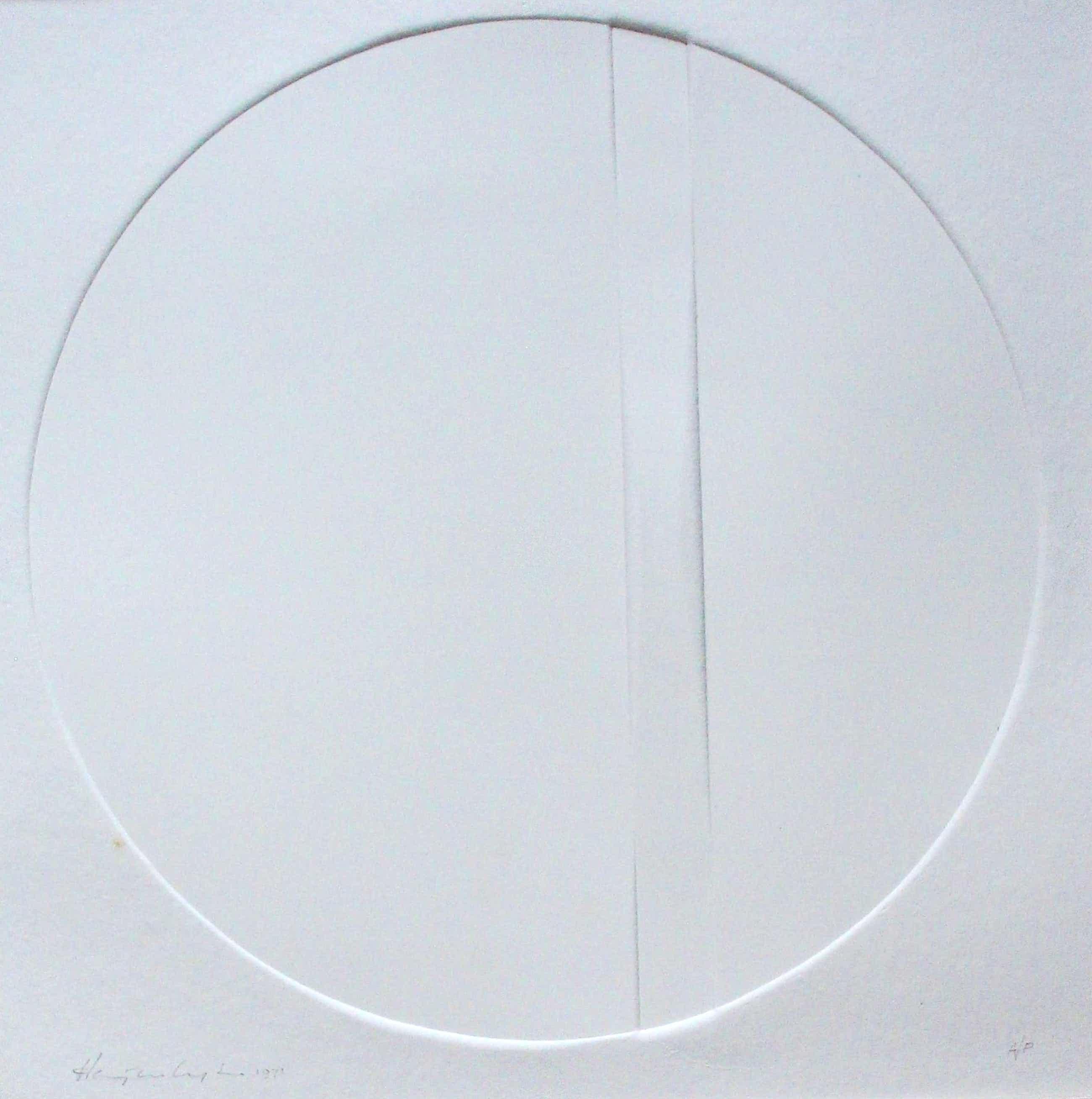 Harry van Kuyk - grotere reliefdruk: compostie met een cirkel- 1971 kopen? Bied vanaf 250!