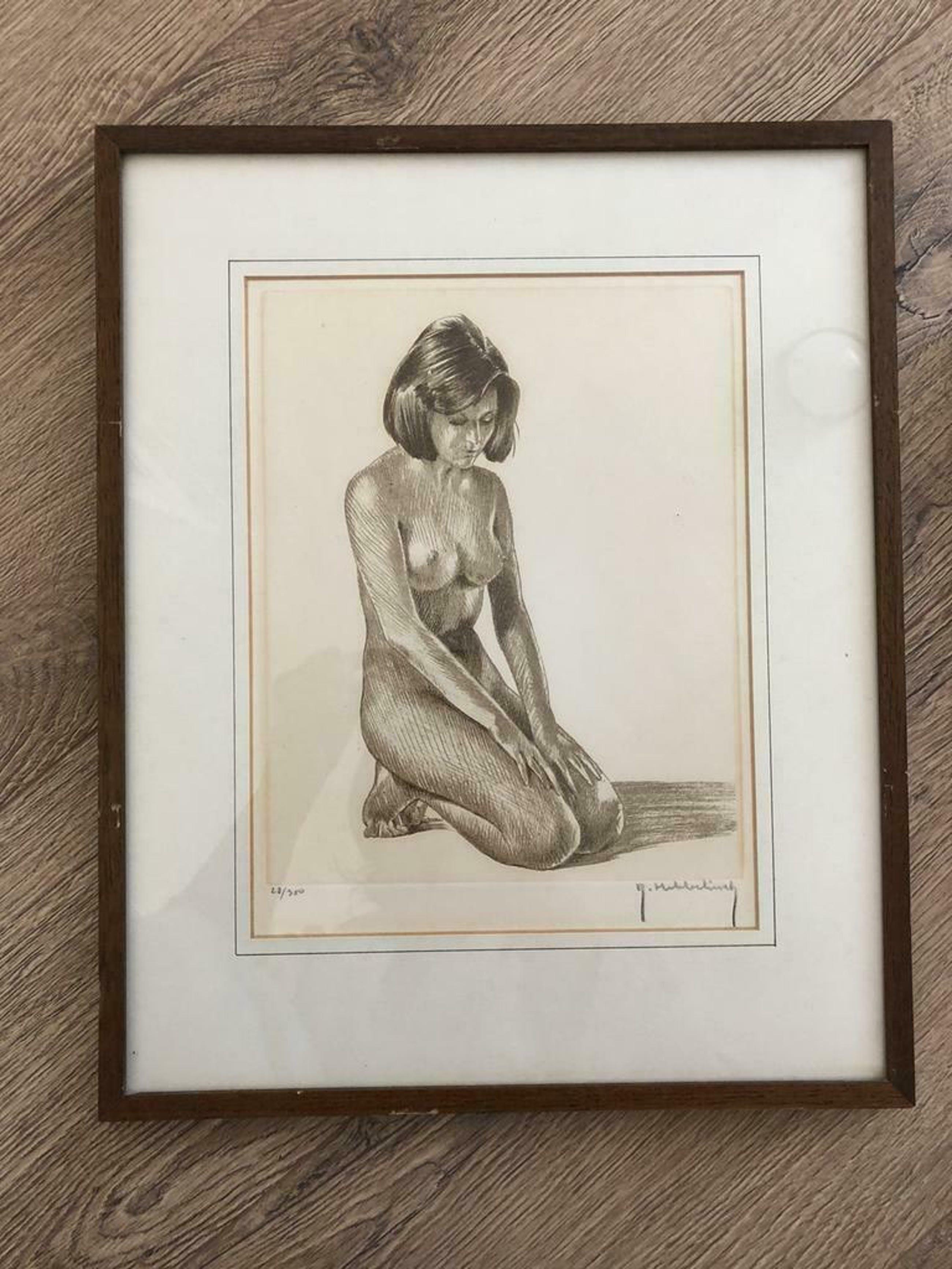 Roger Hebbelinck - 2 prachtige litho's van een naakte dame , gesigneerd en ingelijst kopen? Bied vanaf 75!