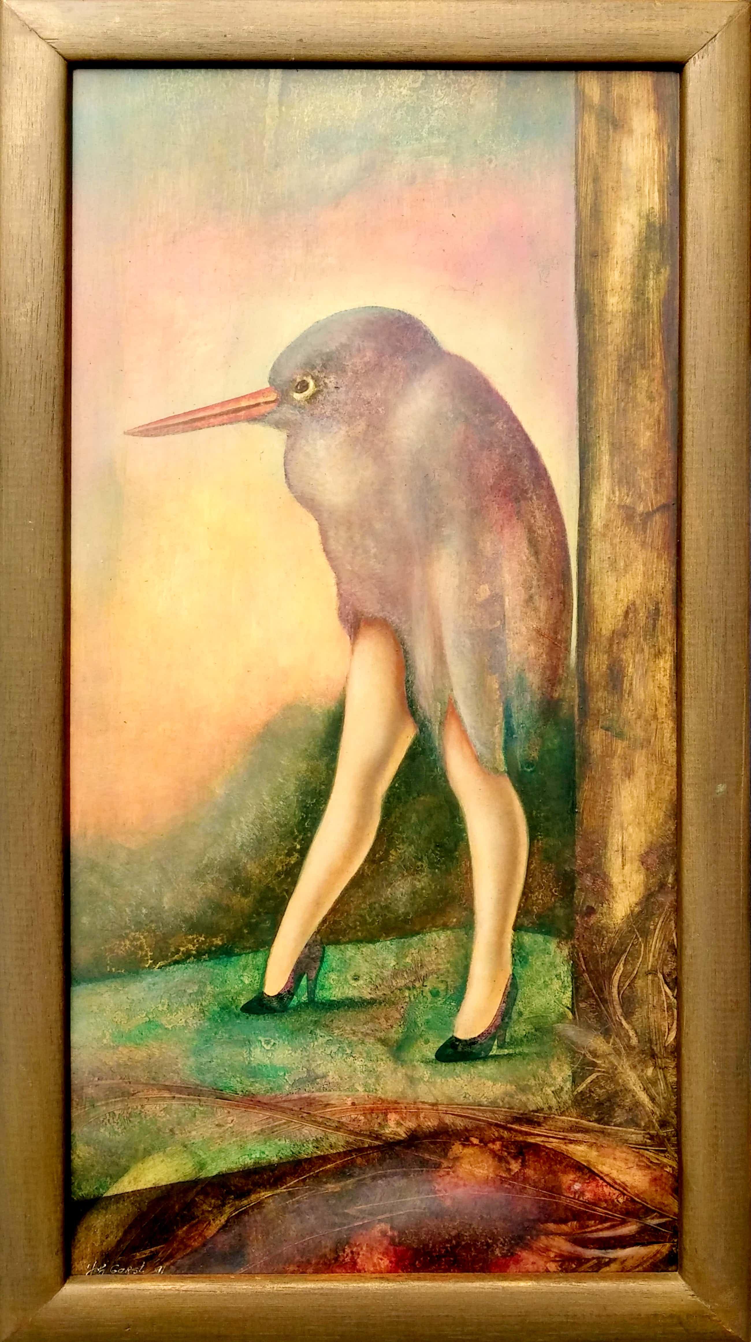 Johannes Garst - 5 Muze - surrealistisch werk - vogel met dames benen kopen? Bied vanaf 90!