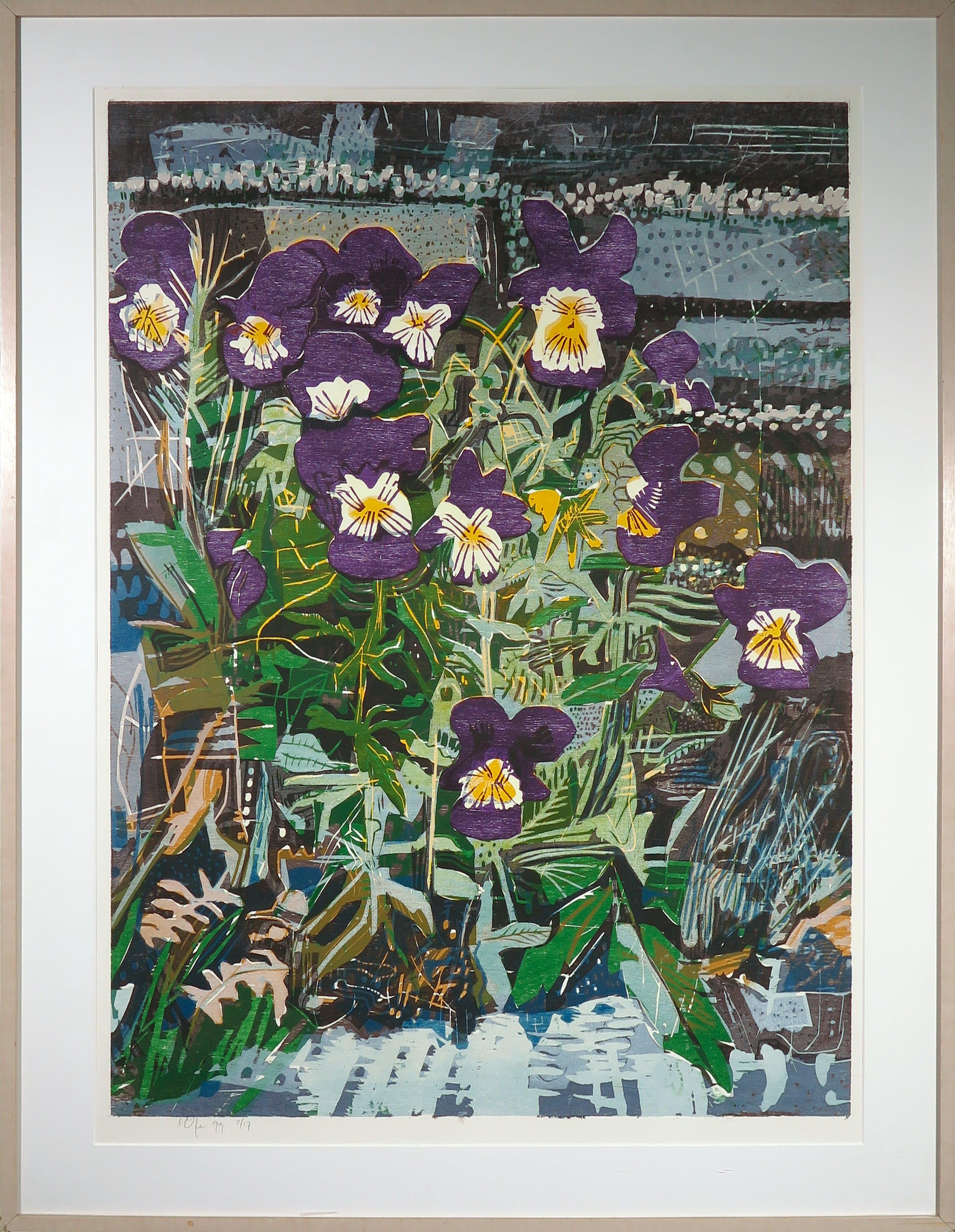 Vincent van Ojen - Houtsnede, Wilde viooltjes - Ingelijst (Groot) kopen? Bied vanaf 150!