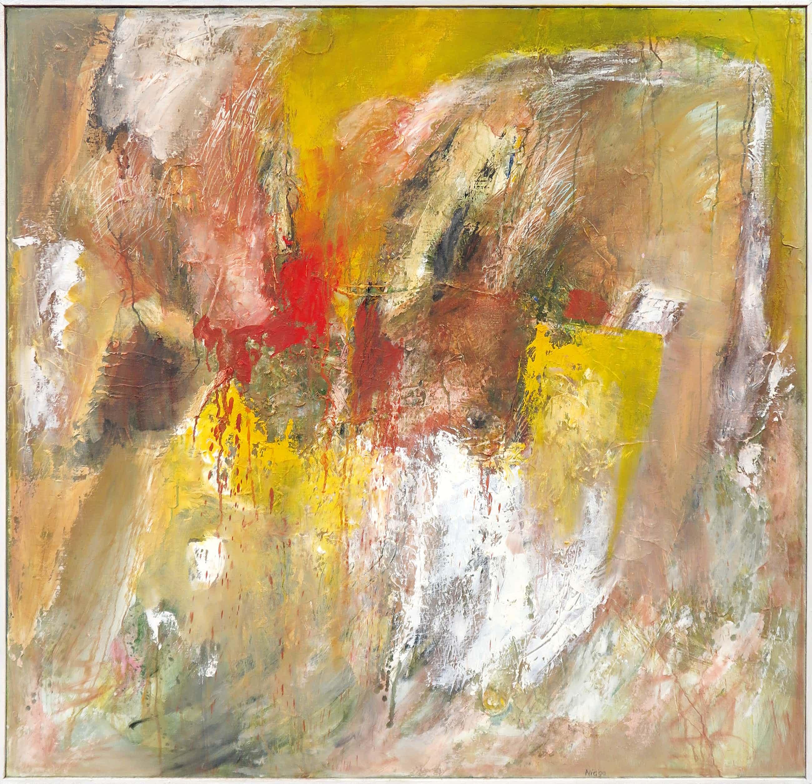 Frans Nicolai - Olieverf op doek, Kleurige abstracte - Ingelijst (Zeer groot) kopen? Bied vanaf 150!